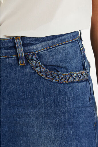 Oasis, Plaited Midi Skirt Denim 4