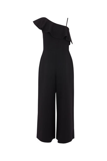 Oasis, ONE SHOULDER JUMPSUIT Black 0