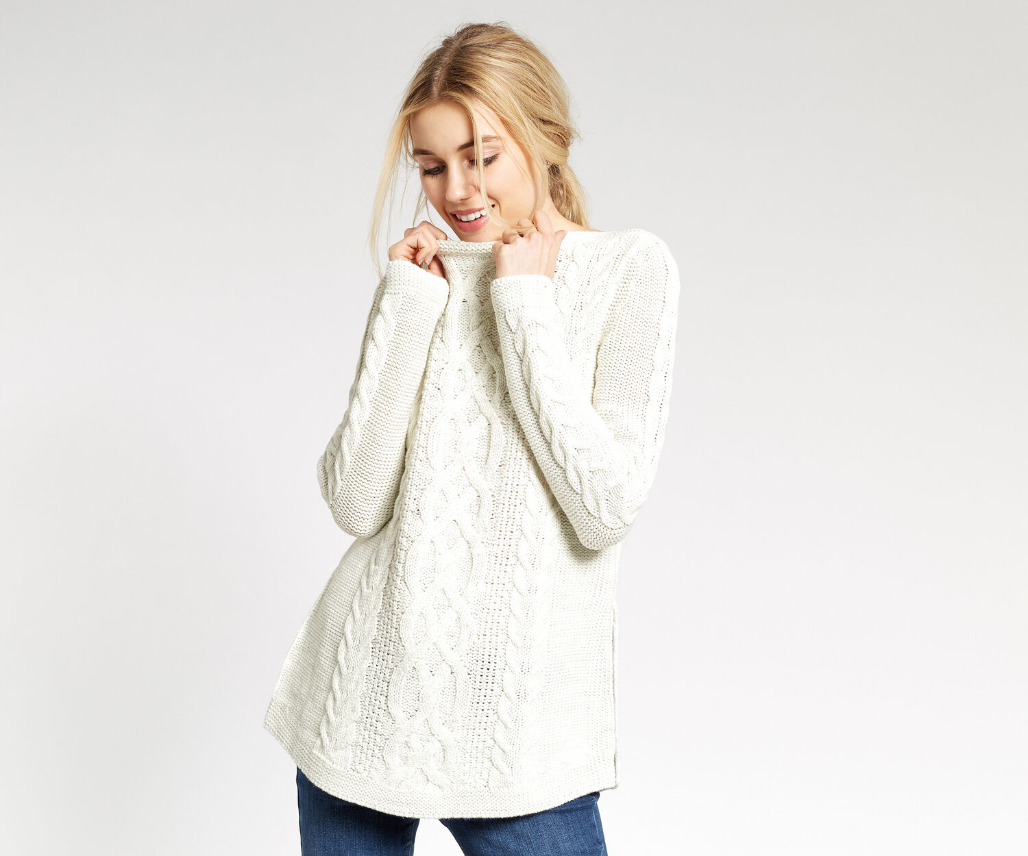 Oasis, CABLE KNIT JUMPER Pale Grey 1