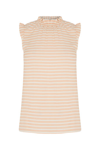 Oasis, High Neck Ruched Top Multi Pink 0