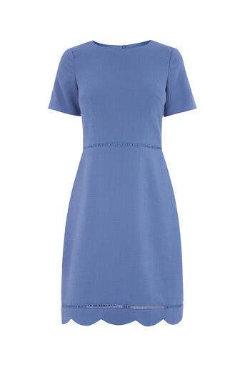 Oasis, LONG SCALLOP SLEEVE DRESS Mid Blue 0