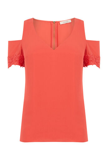 Oasis, LACE COLD SHOULDER TOP Mid Red 0