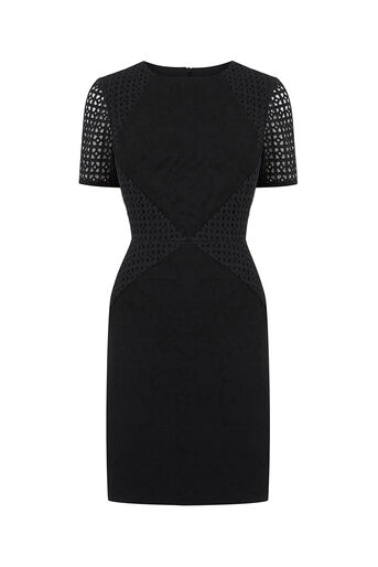 Oasis, BRODERIE PATCHED DRESS Black 0