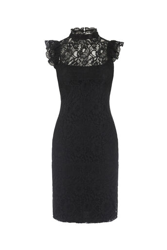 Oasis, LACE RUFFLE NECK DRESS Black 0
