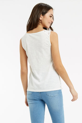 Oasis, Cutout Broderie Top White 3