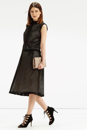 Oasis, Stripe Lace Top Black 2