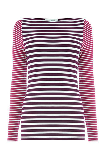 Oasis, STRIPE ENVELOPE NECK Multi Purple 0