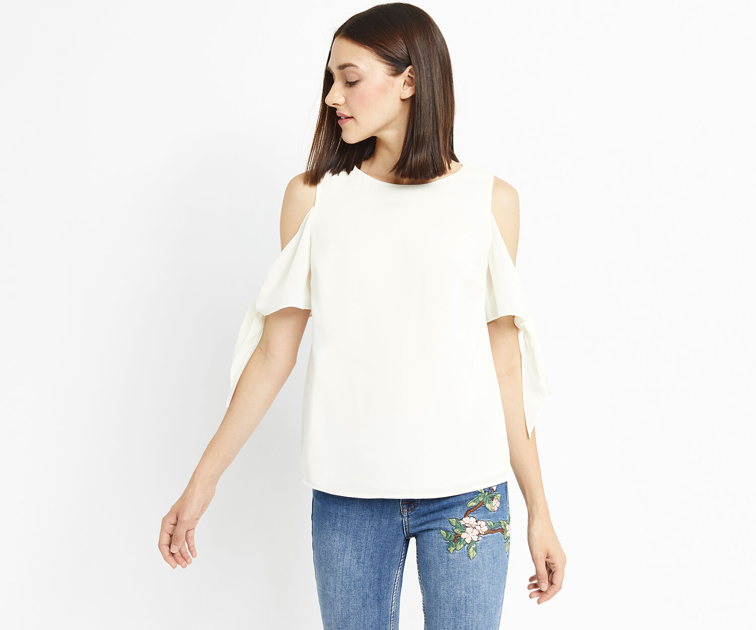 Oasis, LONG TIE SHOULDER PLAIN TOP Off White 1