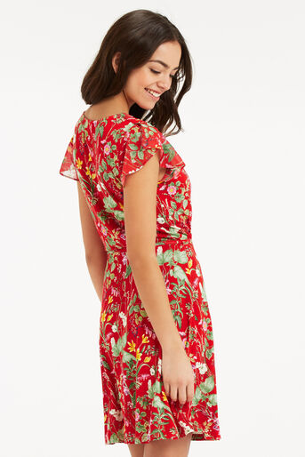 Oasis, SMALL PARADISE RUFFLE DRESS Mid Red 3