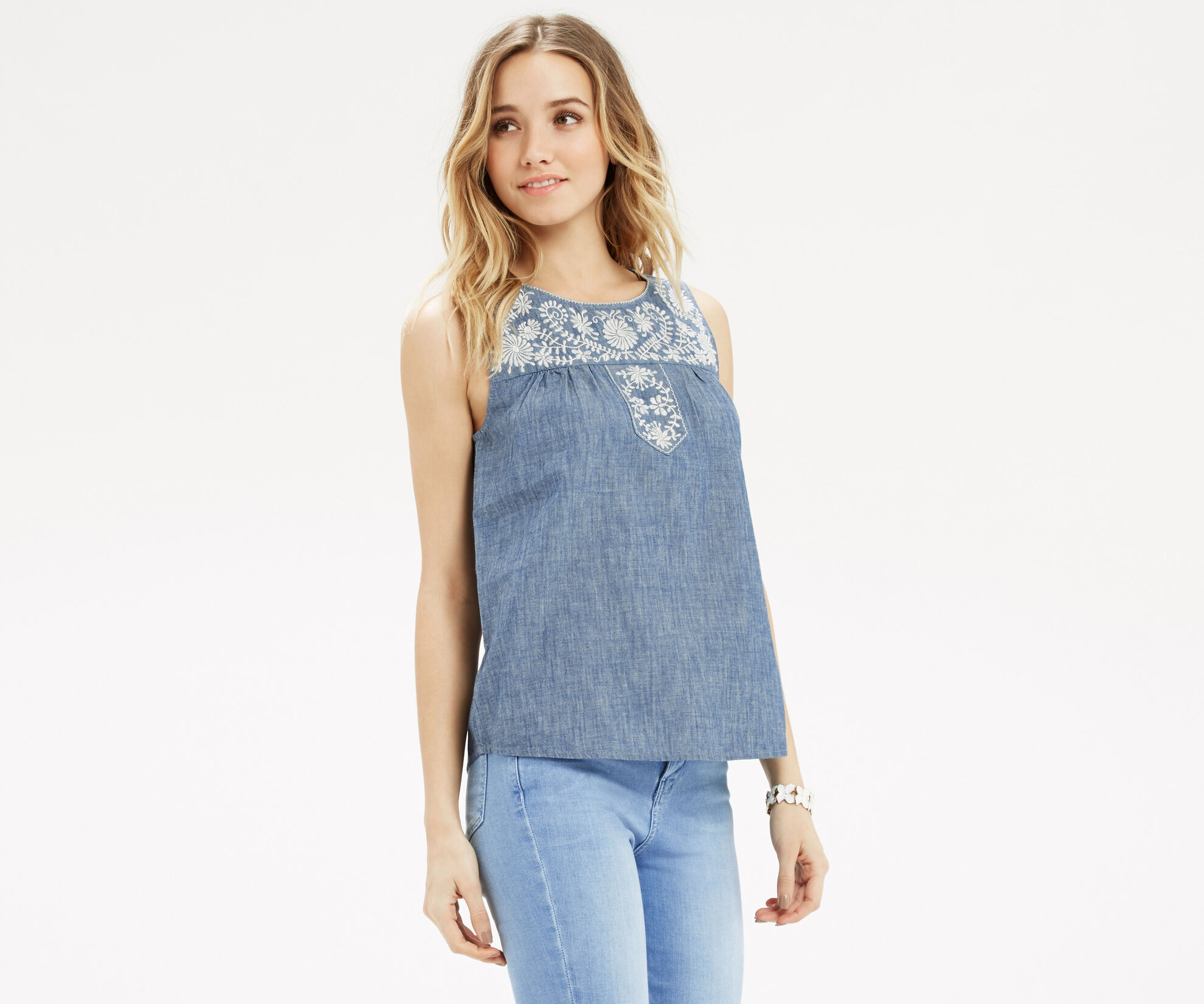 Oasis, Alicia Embroidered Top Denim 1