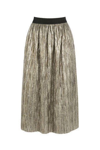 Oasis, METALLIC SKIRT Gold 0