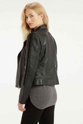 Oasis, Penny Leather Biker Jacket Black 3