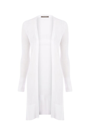 Oasis, RIBBED LONG CARDIGAN Off White 0