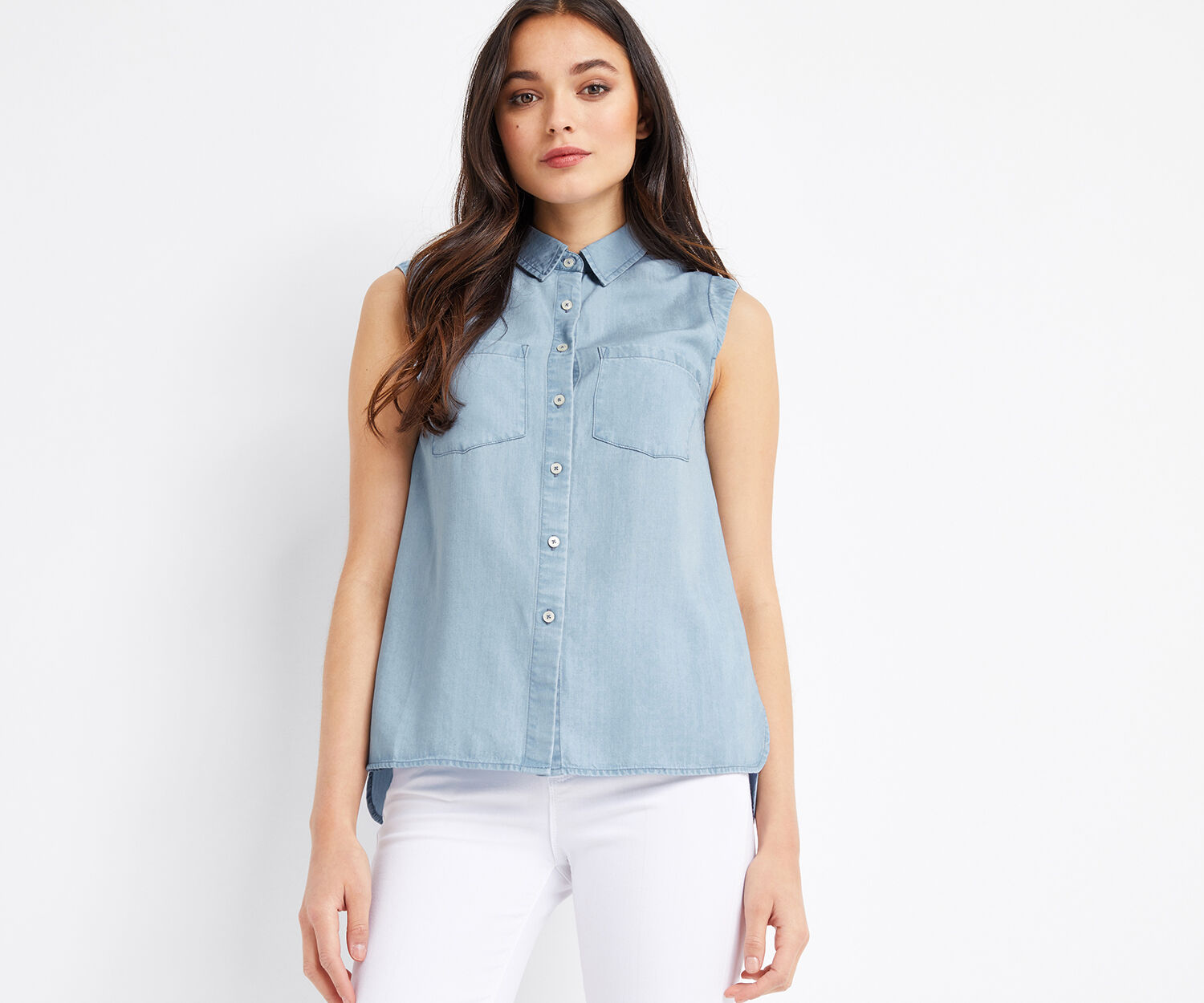 Oasis, ALEX SLEEVELESS SHIRT Light Wash 1