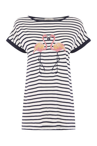Oasis, stripe kissing flamingo tee Multi Blue 0