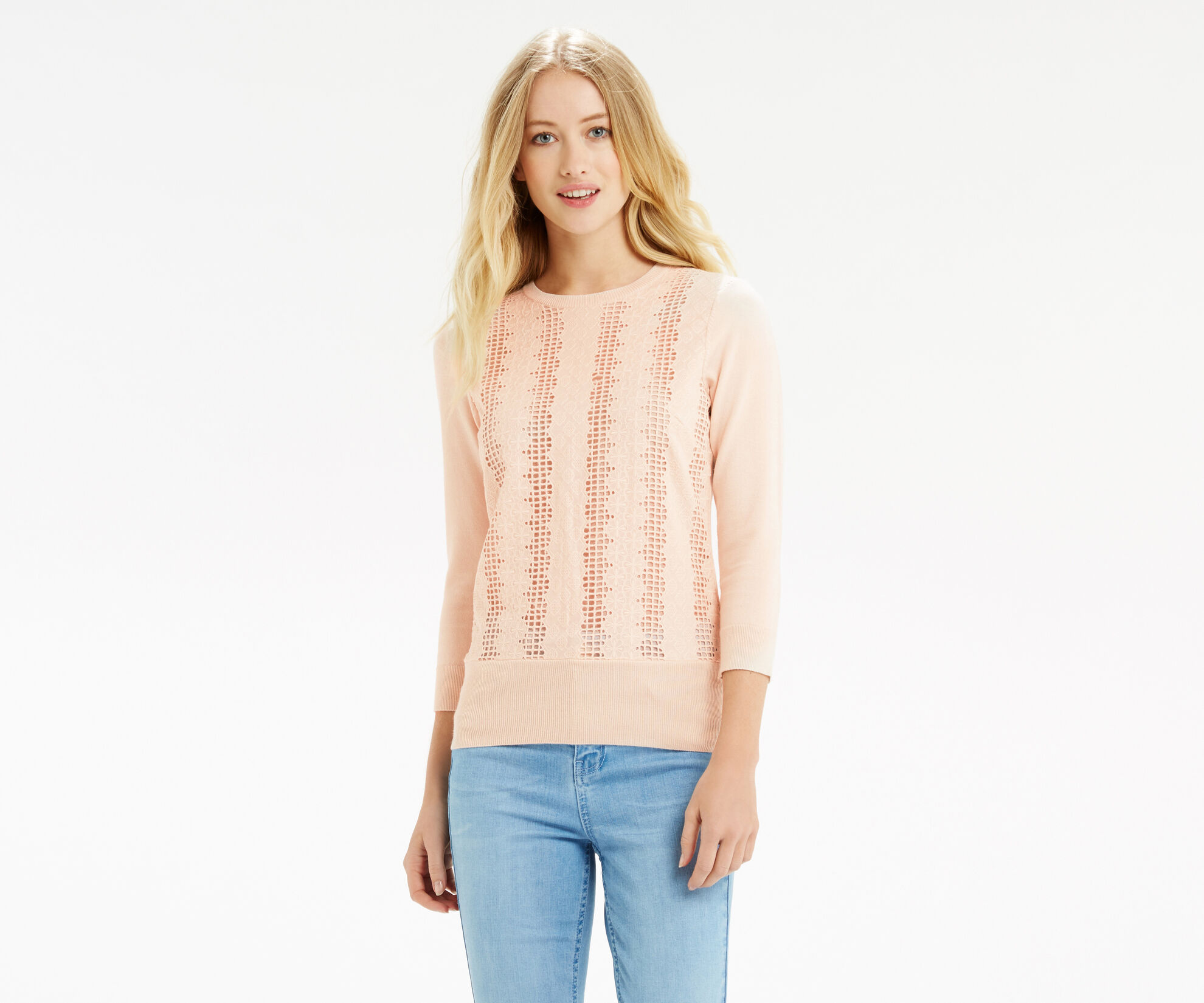 Oasis, Lace Front Knit Pale Pink 1