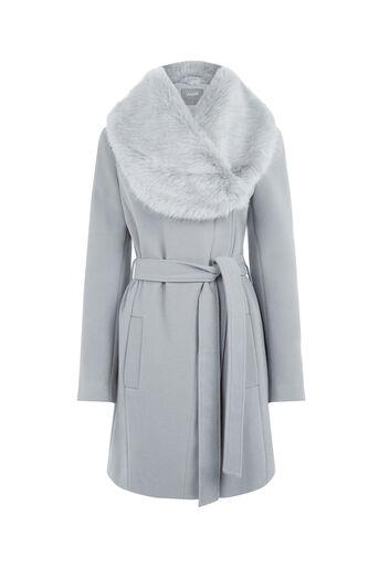 Oasis, Manteau avec col en fausse fourrure Gris moyen 0