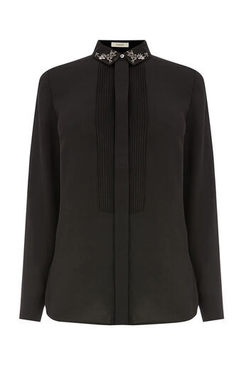 Oasis, EMBELLISHED COLLAR SHIRT Black 0