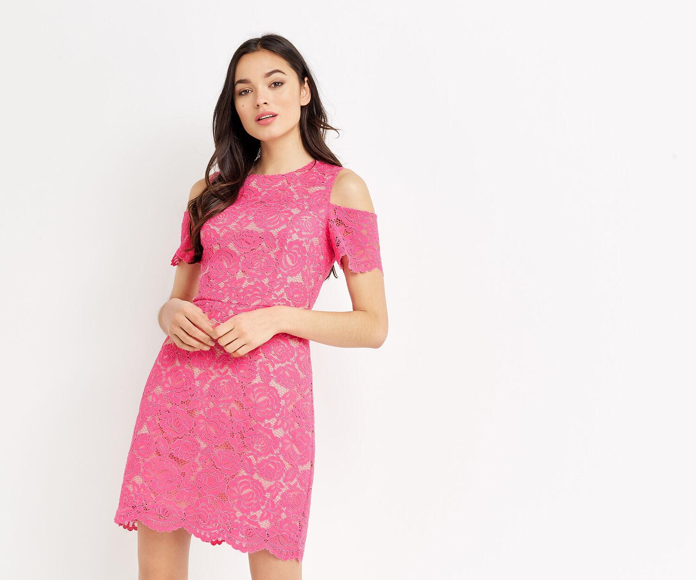 Oasis, LACE COLD SHOULDER DRESS Mid Pink 1