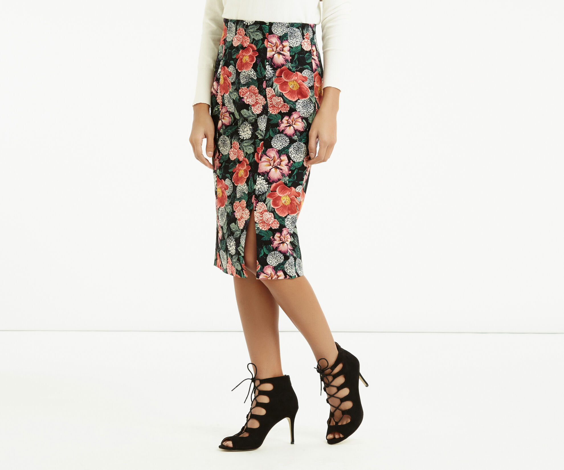 Oasis, Botany Print Pencil Skirt Multi 1