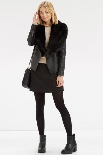 Oasis, 60s Button A-Line Skirt Black 2