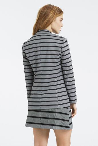 Oasis, Petite Stripe Ponte Jacket Black and White 3