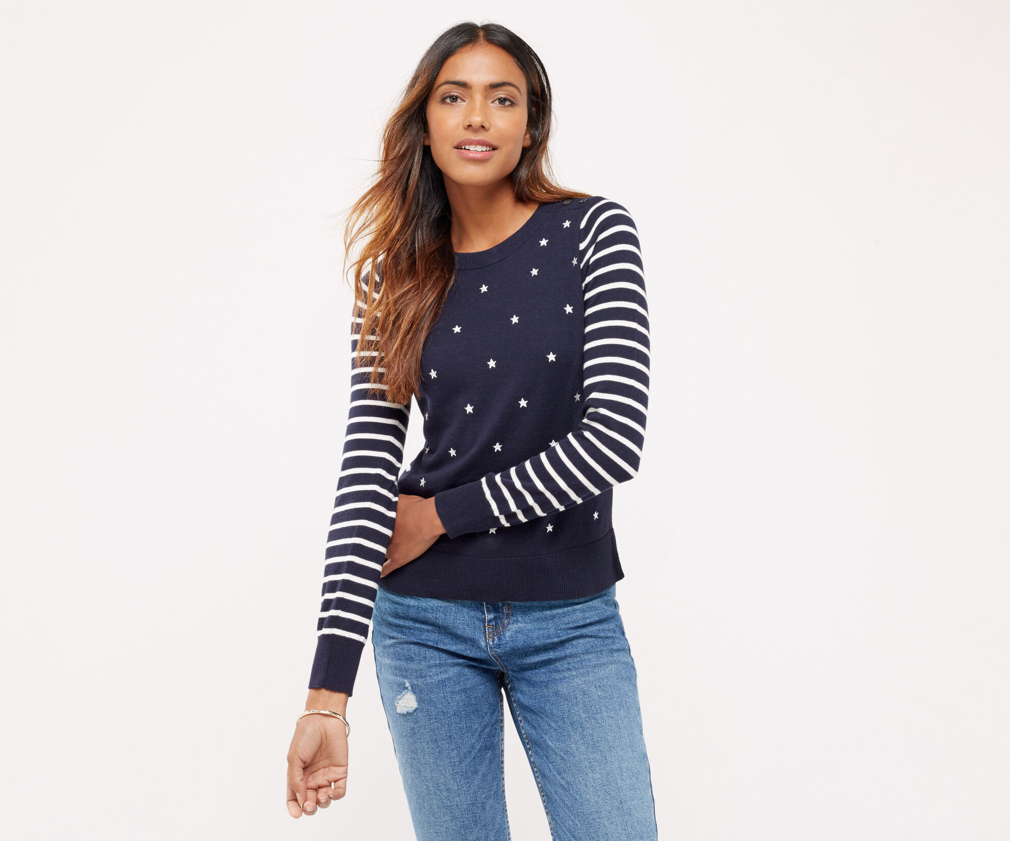 Oasis, EMBROIDERED STAR KNIT Multi Blue 1