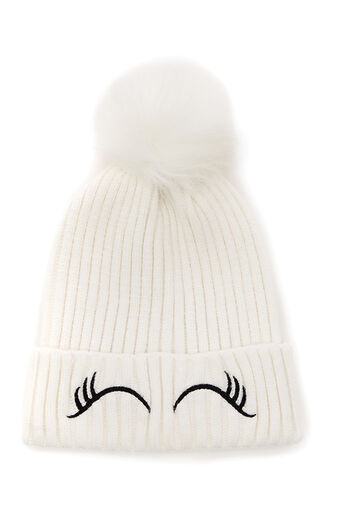 Oasis, EYELASH EMBROIDERED BEANIE White 0