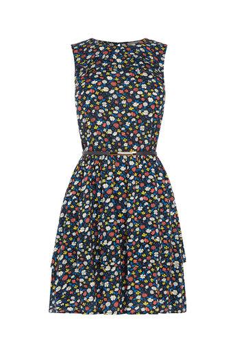 Oasis, Ditsy Ruffle Tiered Dress Multi 0