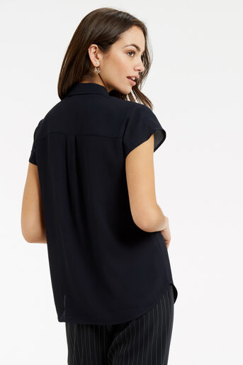 Oasis, Frill Short-Sleeved Shirt Navy 3