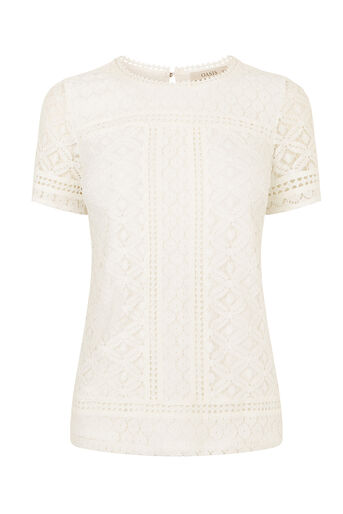 Oasis, ISLA LACE TEE Off White 0