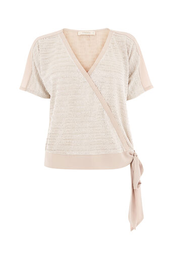 Oasis, CHAIN CRINKLE WRAP TOP Silver 0