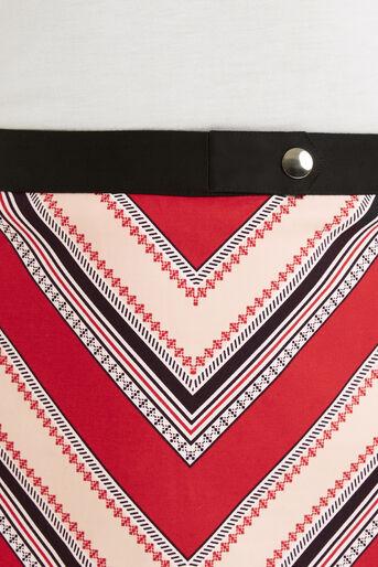 Oasis, Chevron Diamond Stripe Skirt Multi Red 4