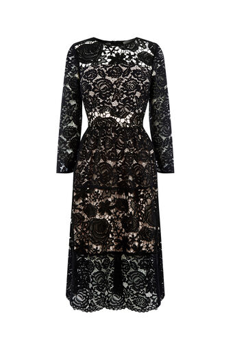 Oasis, LACE SLEEVE MIDI DRESS Black 0