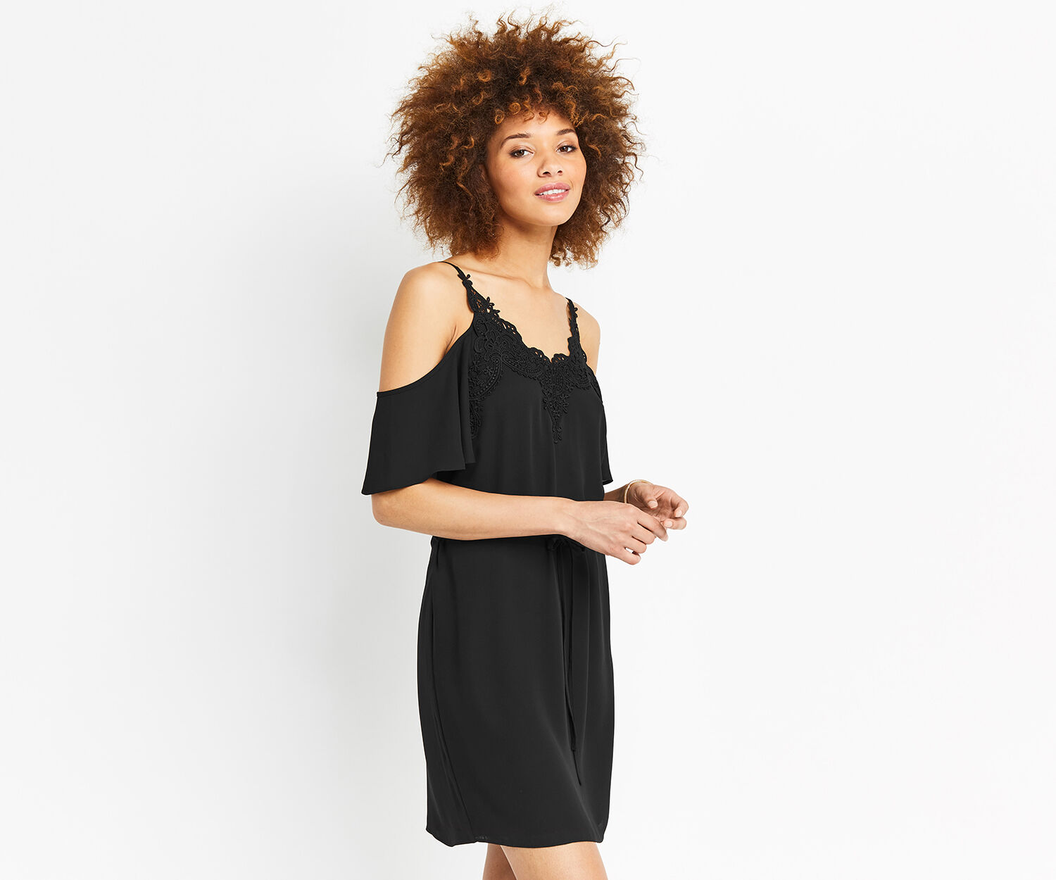 Oasis, LACE TRIM COLD SHOULDER DRESS Black 1