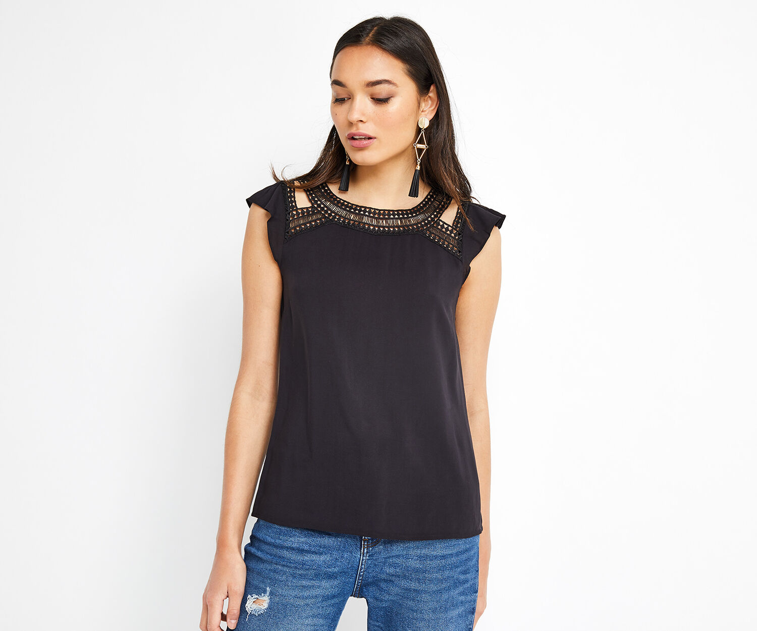Oasis, AZTEC LACE TRIM TEE Black 1