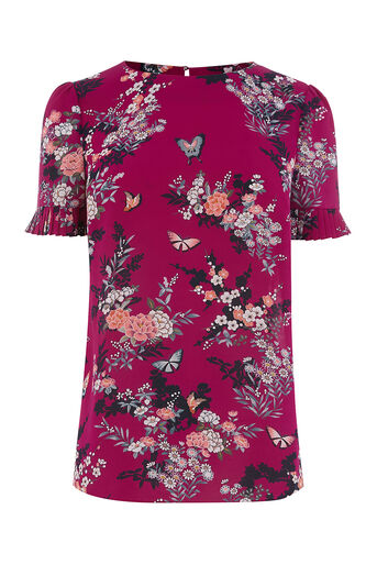 Oasis, KIMONO PLEAT SLEEVE T SHIRT Multi Pink 0