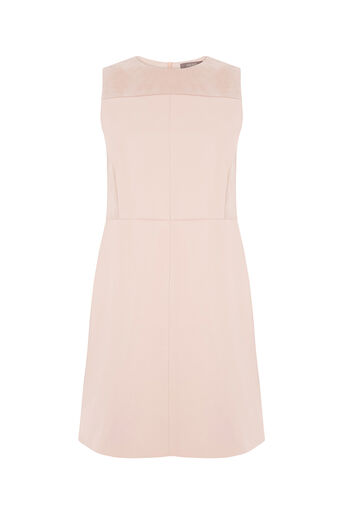 Oasis, PATCHED FAUX LEATHER DRESS Pale Pink 0