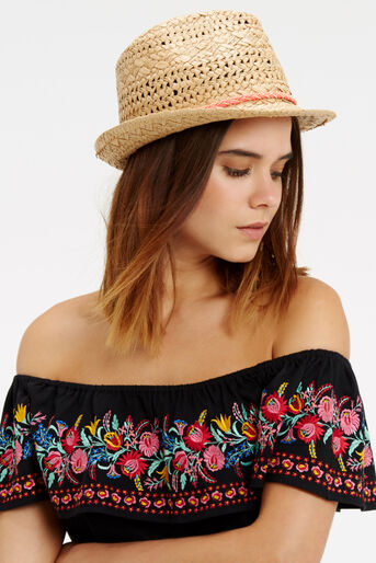 Oasis, Beaded Boho Trilby Mid Neutral 1