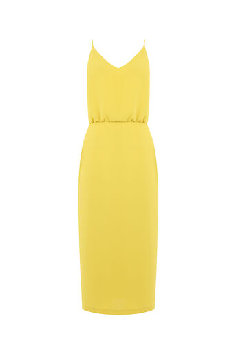 Oasis, PLAIN MIDI DRESS Lime Green 0