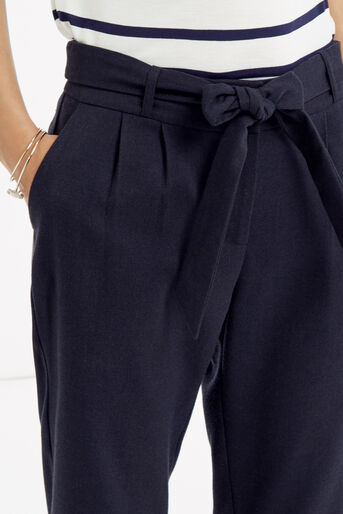 Oasis, Belted Peg Trousers Navy 3