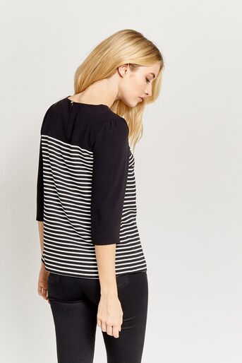 Oasis, STRIPE LACE TOP Black and White 3