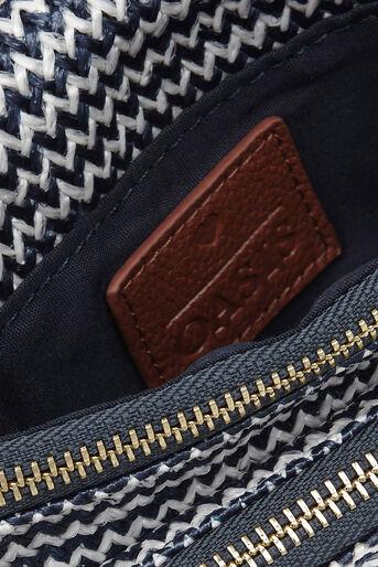 Oasis, Chevron Chain Clutch Bag Multi Blue 4