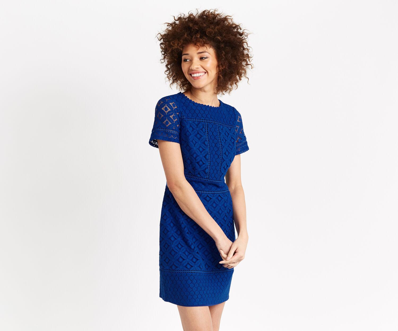 Oasis, ISLA LACE SHIFT DRESS Cobalt Blue 1