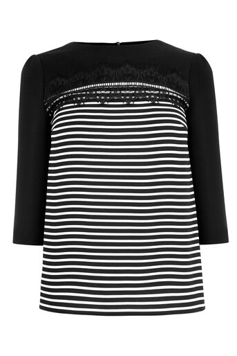 Oasis, STRIPE LACE TOP Black and White 0