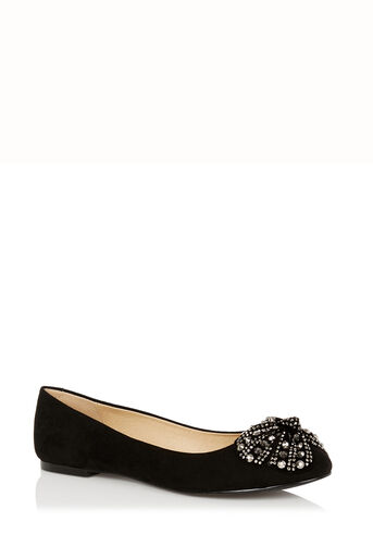 Oasis, Sparkle Bow Ballet Pumps Black 0
