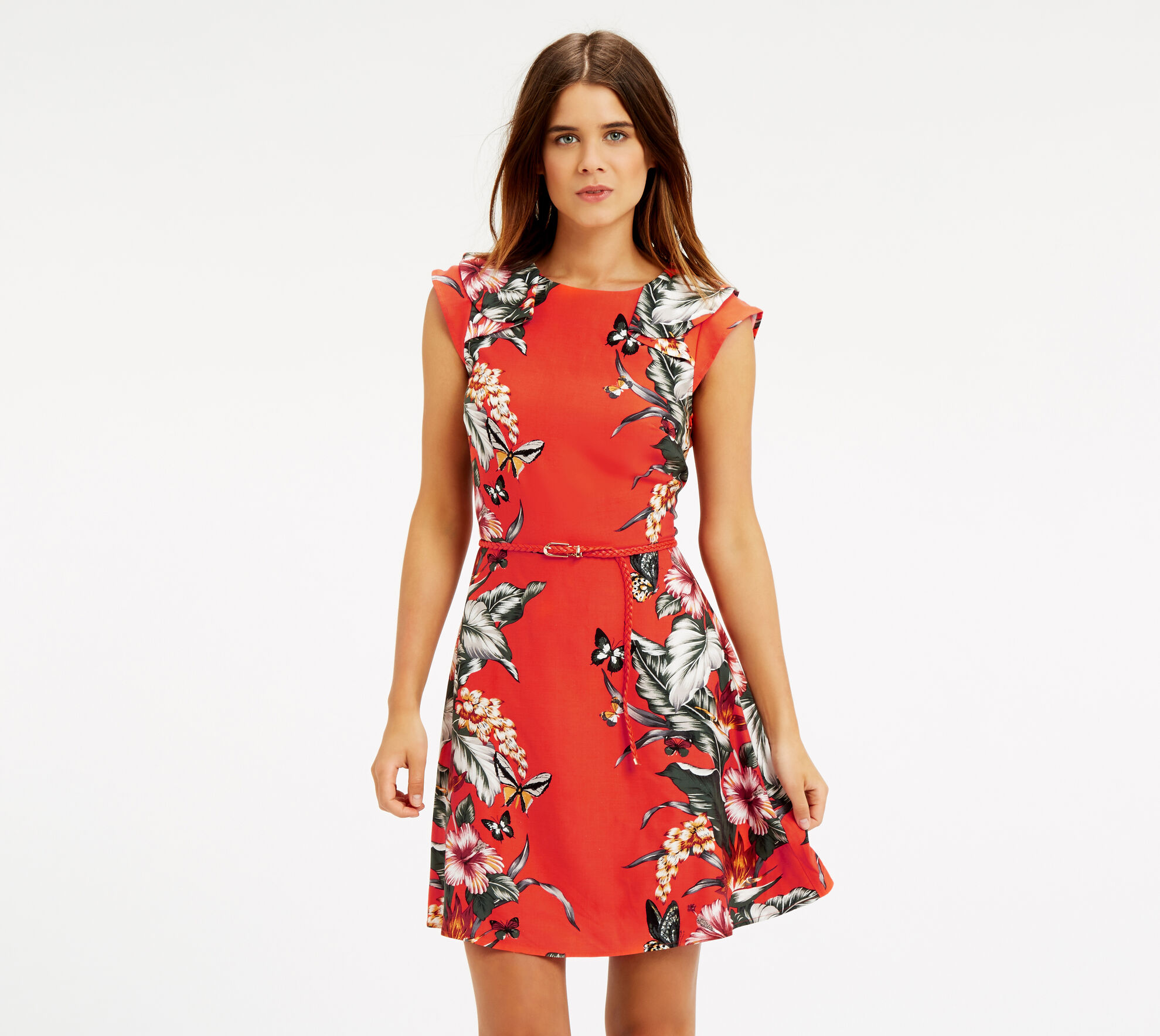 Oasis, Honolulu Skater Dress Coral 1