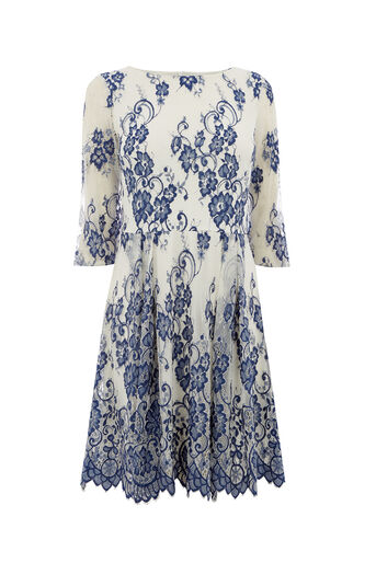 Oasis, 3/4 SLEEVE LACE DRESS Multi Blue 0