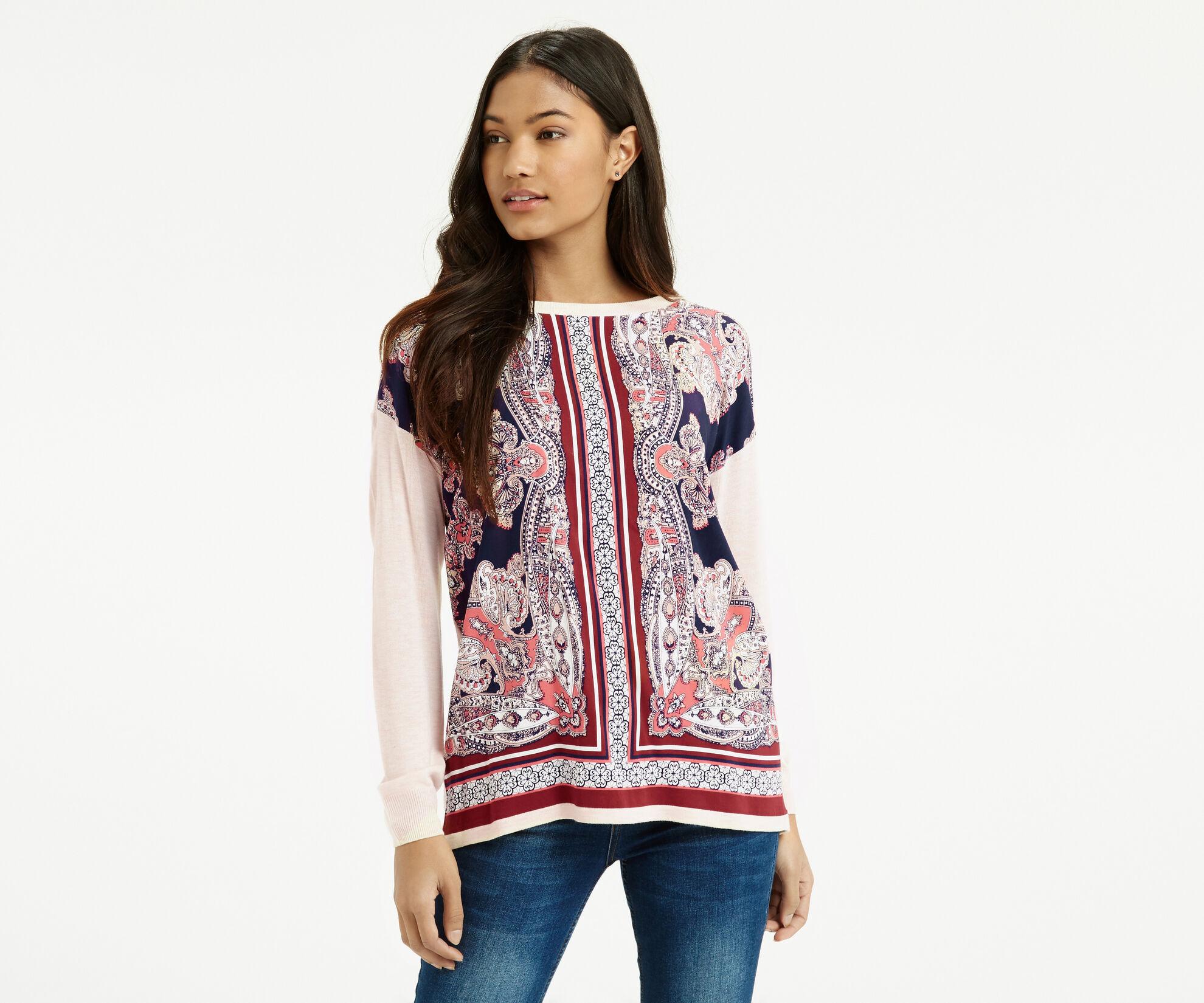 Oasis, Dakota Print Sweater Multi Natural 1