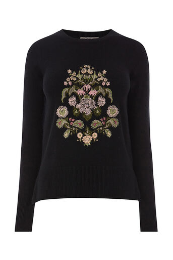 Oasis, ROSETTI EMBROIDERED KNIT Black 0